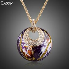 Purple Oil Painting Austrian Crystal Pendant Fashion 18k Gold Plated Necklace