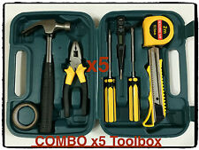 5x 9 piece small portable  bulk tool box kit