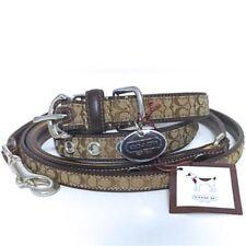 COACH Dog Collar & Leash Medium Legacy Set New