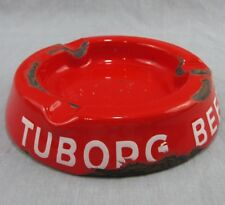 "Tuborg Beer Vintage Enamelware Ashtray Red 6"" Round Made in Denmark Metal"