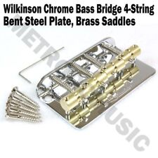 Wilkinson Chrome Bass Bridge Brass Saddles Steel Plate Precision Jazz WBBC 4