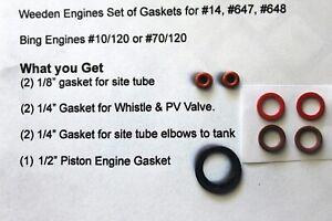 Weeden #14, #647 & 648 Steam Engines Gasket set Free Shipping Also some Bing