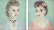Cherry Jeffe Huldah (1901 – 2001) Pair portrait oil paintings young women