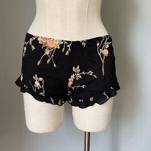 Brandy Melville Black Floral Ruffled Hem Shorts Size OS