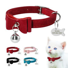 Soft Velvet Cat Collar with Bell Engraved Cat Kitten Name Phone Fish Tag Bow Tie