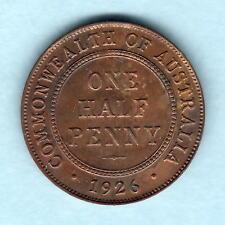 Australia. 1926 Halfpenny..  Part Lustre (patchy).. aUNC..  Obverse die break