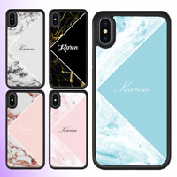For iPhone 12 Pro Max 11 XS Case Marble II Personalised Text Initial Custom Name
