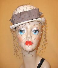 White Straw Bowler Hat w/ Charcoal Gray Band & Matching Netting