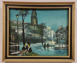 "Vintage Framed Oil Painting Of ""Paris Street Scene"""