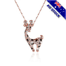 18K Rose Gold Filled Clear Zirconia Crystal Giraffe Pendant Necklace Jewelry