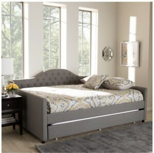 Baxton Studio Eliza Tufted Queen Daybed with Trundle in Grey