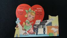 Vintage Piano & Typing Valentine Card c. 1920s unsigned