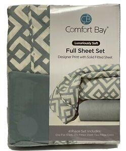 Comfort Bay Microfiber Full Sheet Set Flat fitted & Pillowcases Light Teal White
