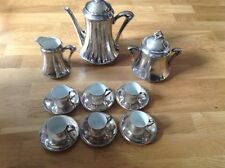 15 Piece Coffee Set Sterling Silver on Porcelain .