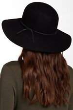 NEW Women's Round Crown Wool Felt Floppy Hat, Black, Phenix Cashmere One Size