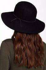 NEW Women's Round Crown Wool Felt Floppy Hat, Black, Phenix Cashmere One Size