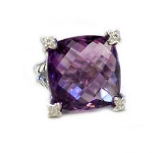 DAVID YURMAN New Sterling Silver 20x20mm Amethyst Ring Diamonds  6
