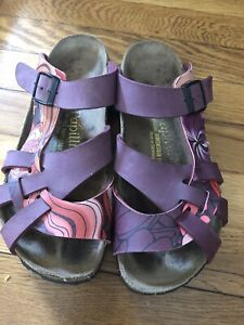 38 ~7 Papillio Birkenstock Women  Leather Slip On Flat Open Toe Slide