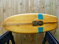 1960s Antique Dextra Fiberglass Belly board surfboard 4ft