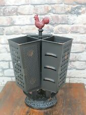 New Metal Grater Rooster Utensil Holder Caddy Countertop Kitchen Farmhouse Decor