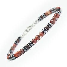 Bijou Homme Femme Bracelet perles pierres gemme mousqueton acier inoxydable