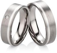 Partnerringe Eheringe aus Titan mit 925 Silber und Zirkonia Ringe Gravur  HT146