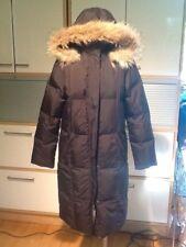 Larry Levine Espresso Brown Women's Down Coat with Genuine Raccoon Fur Hood- EUC