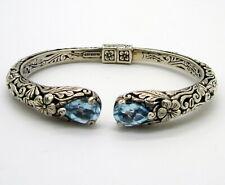 Estate Designer ATI Sterling Silver Light Blue Topaz Flower Hinged Cuff Bracelet