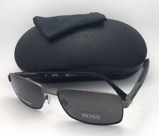 Polarized HUGO BOSS Sunglasses 0706/P/S LN4M9 Ruthenium & Black w/ Grey Lenses