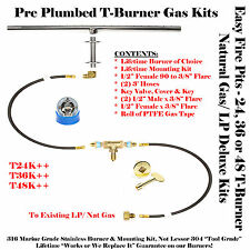 "T36K++ 36"" T-Burner Complete Deluxe Pre Plumbed Gas Fire Table Kit 316 Stainless"
