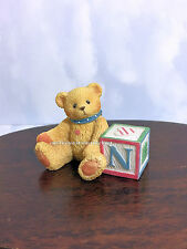 Cherished Teddies Bear With Abc N Alpha Letter Block 1995 Used No Box