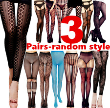 3 Women Pantyhose Socks Stocking Garter Belts Tights Thigh High Hosiery Floral