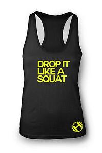 Neon Drop it like a Squat Ladies Gym Vest Women Racerback Yoga Workout Vest Tank
