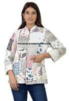 Indien Coton Femme Veste Hiver Blanc Patchwork Réversible Blazer Taille Manteau