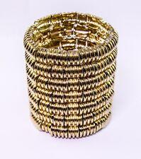 Kenneth Jay Lane stretch wide gold tone bracelet