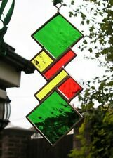 Stained Glass Panel, Abstract Suncatcher, Geometric, Handmade in England