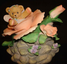 2007 Enesco Cherished Teddies Blue Danube Waltz Bear Ceramic Flower Music Box