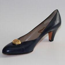 Salvatore Ferragamo Navy Blue Leather Pumps Heels Shoes Goldtone Clip size 10AAA