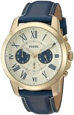 Fossil FS5271 Men's Grant Gold Tone Blue Leather Band Chronograph Watch