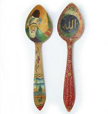 Vintage 1970's Turkey Handpainted Wood Spoons Signed S. Tirayki Konya
