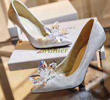 Ladies' Pointy Toe heel Heel Diamond Crystal Shoes Wedding Party Shoes Sz New