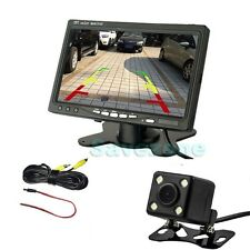 "7"" TFT LCD Monitor + 4LED Sensor Reversing Parking Camera 170° Car Rear View Kit"