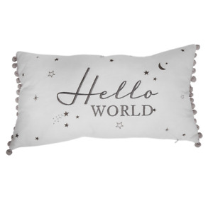 Hello World Cushion with Grey Pom Poms - Nursery, New Baby