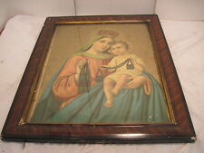VINTAGE RELIGIOUS VIRGIN MARY HOLDING BABY JESUS TIGER WOOD FRAME