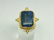 Stunning Studio Gold Sterling Silver Lapis Lazuli Byzantine Cocktail Ring Size P