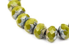 25 Rondelle Czech Pressed Glass Beads, 8mm faceted, green Picasso. bgl0929