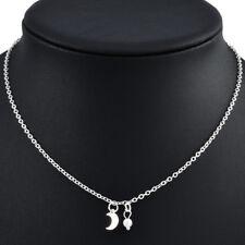 Fashion Cute Tiny Moon Pearl Choker Necklace Pendant Women Jewelry Lady Gift TR