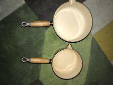 Le Creuset Vintage green Iron Pots 16 ,& 20cm & 23cm frying pan wooden handles