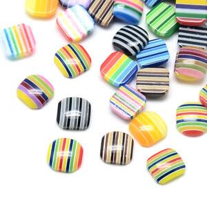 1000pcs Random Resin Square Cabochons Rainbow Striped Flatback Dome Cameos 8x8mm