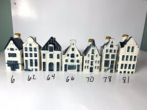 Lot Of 7 KLM Bols Blue Delft Houses #6, 62, 64, 66, 70, 78, 81